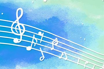 白色乐谱音符矢量素材