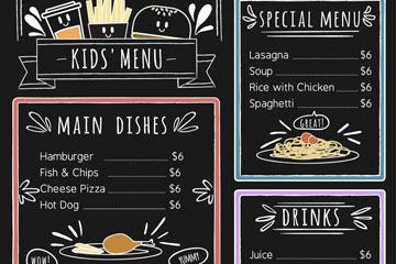 可爱手绘黑板儿童菜单设计矢量图