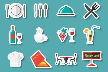 16款彩色餐馆元素贴纸乐虎国际线上娱乐图