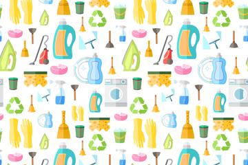 扁平化家用清扫用品无缝背景乐虎国际线上娱乐图