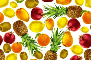 彩色水果无缝背景设计矢量素材