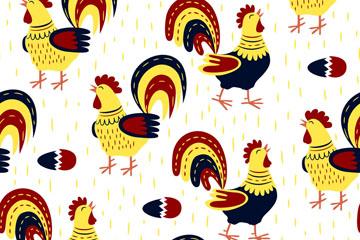 彩色公鸡无缝背景乐虎国际线上娱乐乐虎国际