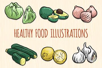 9种彩绘健康蔬菜水果矢量素材