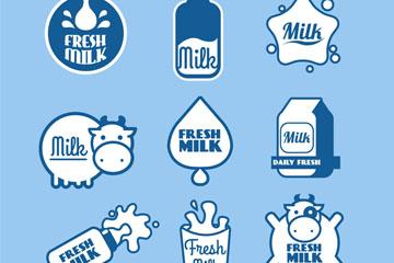 9款蓝色牛奶标签矢量素材