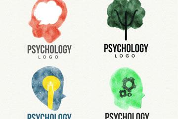 4款水彩绘心理学标志矢量图
