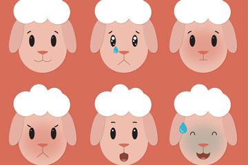 6款可爱绵羊头像表情乐虎国际线上娱乐图