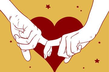 手绘拉着的双手和爱心乐虎国际线上娱乐图