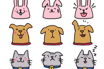 9款彩绘动物表情头像矢量素材