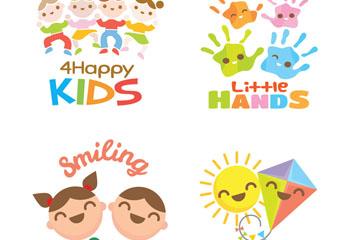 4款可爱儿童产品标志矢量图