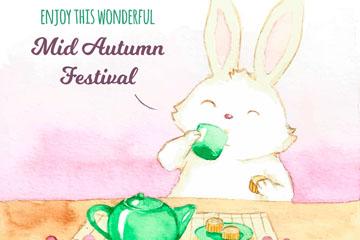 水彩绘中秋节饮茶兔子矢量素材