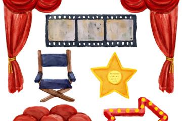 6款水彩绘电影院元素乐虎国际线上娱乐乐虎国际