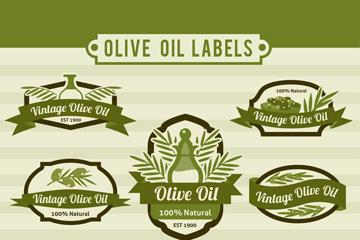 7款绿色橄榄油标签矢量素材