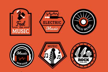 9款创意音乐标签矢量素材