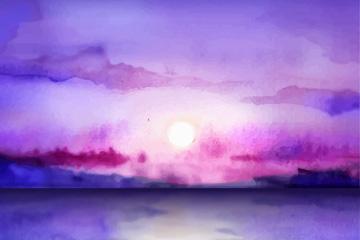 紫色水彩绘海上日落风景矢量图