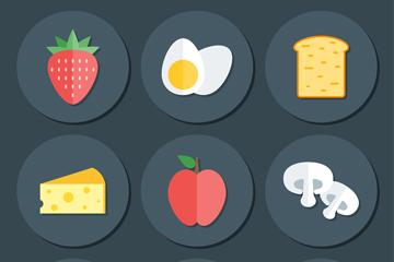 9款扁平化圆形食物图标矢量素材