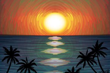 创意海边日落和椰子树风景乐虎国际线上娱乐乐虎国际
