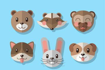 9款扁平化笑脸动物头像矢量图