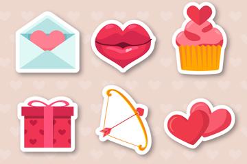 6款创意情人节贴纸矢量图