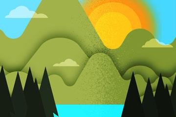 创意山和太阳湖泊风景乐虎国际线上娱乐图