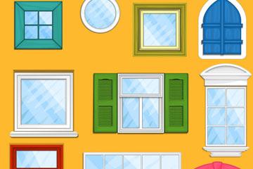 10款彩色窗户设计矢量素材