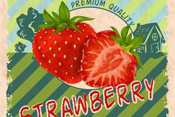 复古草莓宣传海报矢量素材