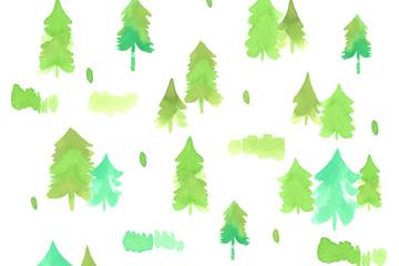 水彩绘松树林无缝背景乐虎国际线上娱乐图
