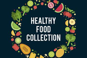创意健康食物组合圆环矢量素材