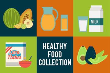 8组彩色健康食物矢量素材
