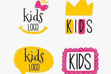 4款彩绘儿童标志矢量素材