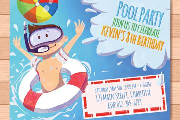 彩绘男孩泳池派对传单乐虎国际线上娱乐图
