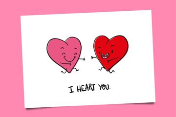 彩绘爱心我爱你卡片乐虎国际线上娱乐图