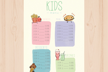 可爱手绘儿童菜单乐虎国际线上娱乐乐虎国际
