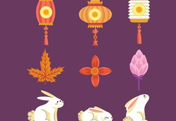 9款彩色中秋节图标矢量素材