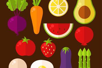 12款扁平化蔬菜和水果矢量图
