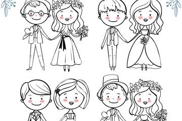 4对手绘幸福婚礼新人矢量图