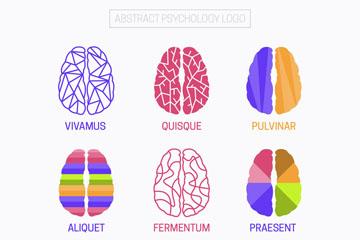 9款彩色大脑心理学标志矢量图