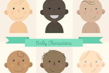 6款不同肤色婴儿设计矢量素材