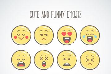 12款可爱彩绘圆脸表情矢量素材