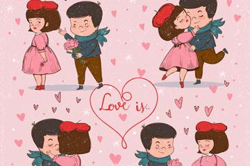 4款彩绘甜蜜情侣场景设计矢量素材
