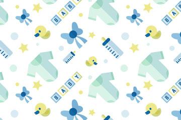 蓝色扁平化婴儿用品无缝背景矢量图