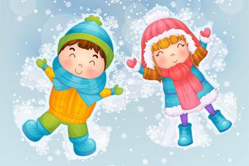 可爱雪地玩耍的男孩和女孩矢量图