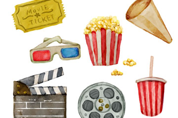 6款水彩绘电影院元素矢量图