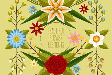 4款彩色花束设计矢量素材