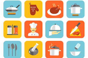 16款方形厨房元素图标矢量素材