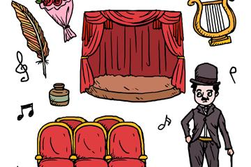 7款彩绘戏剧电影元素矢量素材