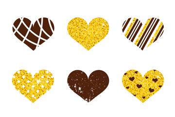 9款金色装饰爱心矢量素材