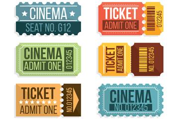8款彩色电影票矢量素材