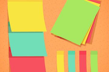 8款彩色空白便利贴矢量图