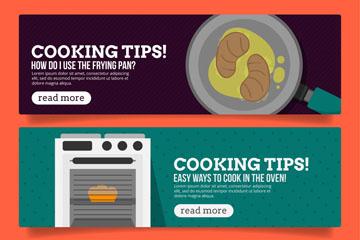 3款创意烹饪小贴士banner矢量图