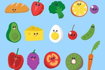 15款创意表情蔬菜和水果矢量图